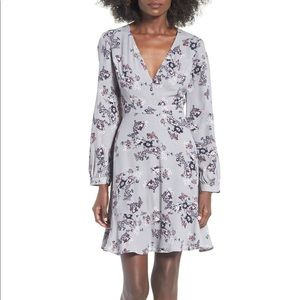 ASTR the Label Gray Floral Swing Dress